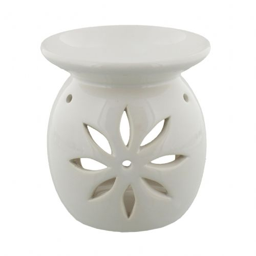 White Ceramic Oil & Melt Burner With Flower Design Cut Out By Colonial Candle